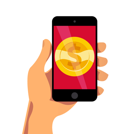 Vector flat illustration with human hand dolding smartphone with golden coin on its screen isolated on white background. Electronic gadget. Gold coin icon with dollar symbol.
