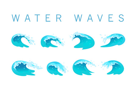 Vector collection of flat blue water waves, splatters, curves icons isolated on white background. Pure water splatters set, good for environment elements design, packaging emblems, banners, logo etc.