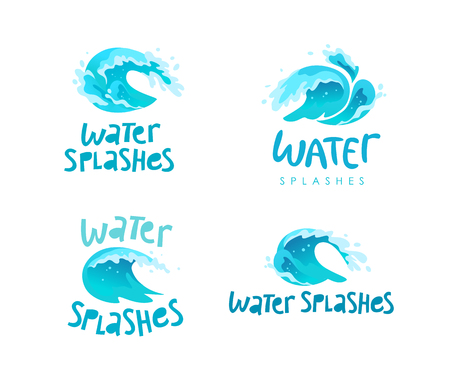 Vector flat illustration of water splashes emblem isolated on white background. Water wave curling icon collection. Hand written font. Good for pure water label, logo design, packaging label.