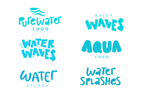 Vector collection of flat text water emblem isolated on white background. Water wave, splashes lettering. Hand written font. Good for eco pure water label, logo design, packaging label. Vettoriali