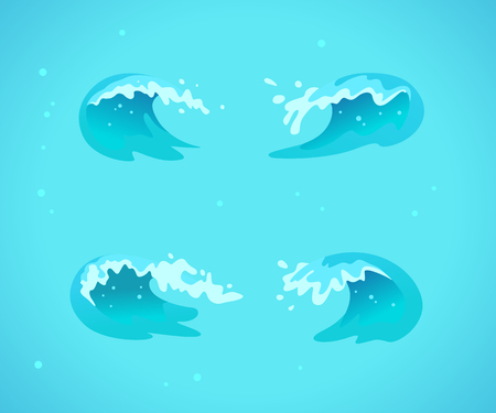 Vector collection of flat blue water waves, splatters, curves icons isolated on blue background. Pure water splatters set, good for environment elements design, packaging emblems, banners, logo etc.