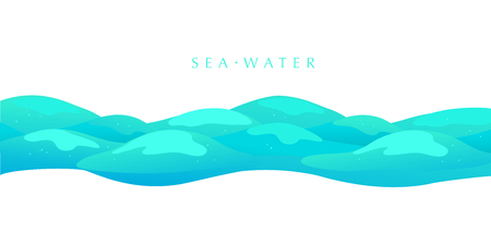 Vector flat background illustration of water waves isolated on white background. Summer tide backdrop.