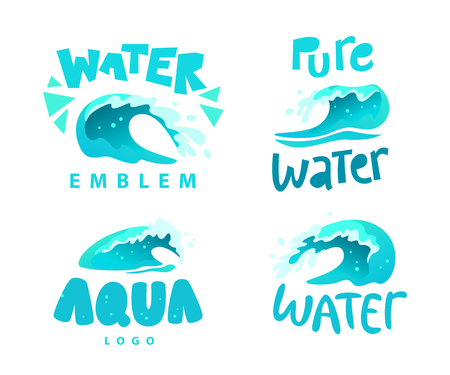 Vector flat illustration of water splashes emblem isolated on white background. Water wave curling icon collection.