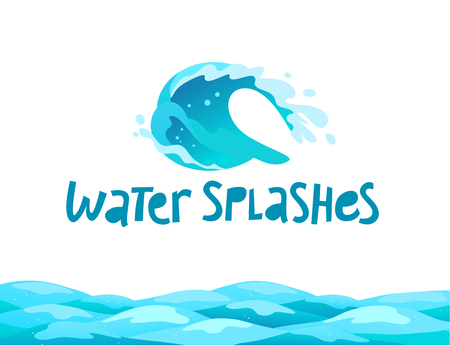Vector flat illustration of water splashes emblem isolated on white background. Water wave curling icon.