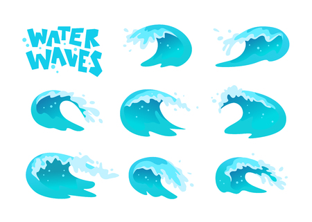 Vector collection of flat blue water waves, splatters, curves icons isolated on white background.