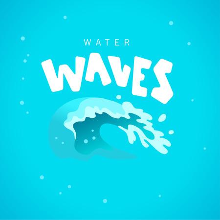 Vector flat illustration of water splashes emblem isolated on blue background. Water wave curling icon. Ilustração