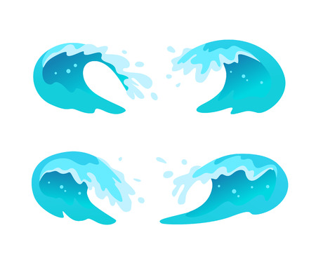 A Vector collection of flat blue water waves, splatters, curves icons isolated on white background. Pure water splatters set, good for environment elements design, packaging emblems, banners, logo etc.