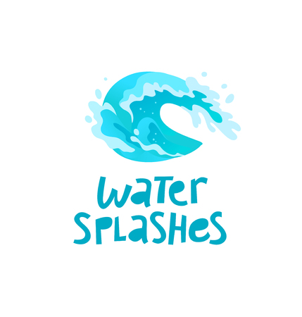 A Vector flat illustration of water splashes emblem isolated on white background. Water wave curling icon. Hand written font. Good for pure water label, logo design, packaging label.