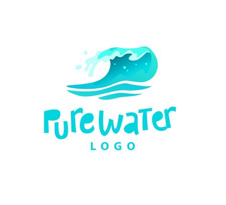 白い背景に隔離された水しぶきエンブレムのベクトルフラットイラスト。水波カーリングアイコン。手書きフォント。純水ラベル、ロゴデザイン、  イラスト・ベクター素材
