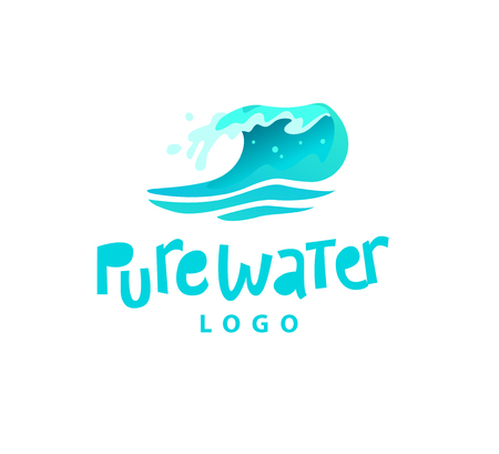 Vector flat illustration of water splashes emblem isolated on white background. Water wave curling icon. Hand written font. Good for pure water label, logo design, packaging label.