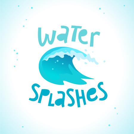 Vector flat illustration of water splashes emblem isolated on white background. Water wave curling icon. Hand written font.  Good for pure water label, sign, packaging label.