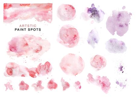 예술적 컬렉션이 그려진 된 수채화 분홍색 및 보라색 반점, 페인트 상품 및 배경 흰색 배경에 고립. 발렌타인 데이 카드, 결혼식 초대장 및 훈장, 현수 스톡 콘텐츠