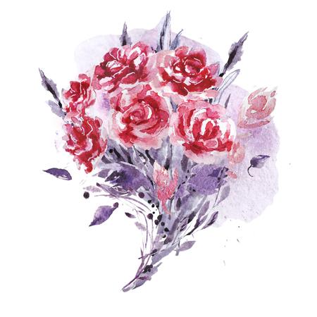 芸術的な手は絵のペンキの滴および背景と水彩画の組成物を描いた。バレンタインデー、結婚式のお祝いや装飾のために良い - カード、ポスター、 写真素材