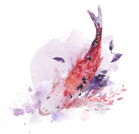 芸術的な手は魚、絵画の塗料の滴および背景と水彩画の組成物を描いた。バレンタインデー、結婚式のお祝いや装飾のために良い - カード、ポスタ 写真素材