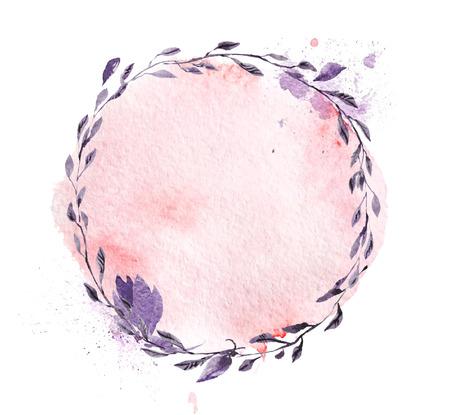 Hand getrokken artistieke aquarel frame gemaakt met bloemen en plant elementen geïsoleerd op een witte achtergrond. Goed voor bruiloft uitnodiging en decoratie ontwerp, Valentine kaarten, posters, afdrukken etc.