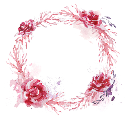 Hand drawn artistic watercolor frame made with floral and plant elements isolated on white background. Good for wedding invitation and decoration design, Valentine cards, posters, prints etc.
