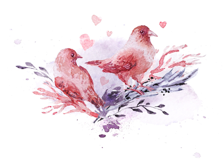 Artistic hand drawn watercolor composition with pictorial paint drops and backdrops. Good for Valentine day, wedding celebration and decoration - cards, posters, prints, banners, invitations etc. 写真素材