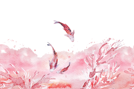 Hand drawn artistic seamless background with watercolor backdrop, coral brunches, swimming fish isolated on white background. Good for wedding and Valentines day design & decoration - cards, banners. Stock Photo