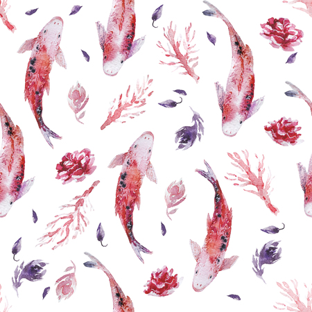 Watercolor hand drawn artistic seamless pattern with painted elements - roses, fish, leaves. Good for Valentine day decoration design, wedding invitations, cards, posters, prints.