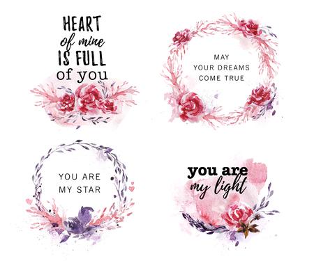 Hand getekend collectie van artistieke liefde, bruiloft, Valentine felicitatie ontwerpen Stockfoto - 93365556