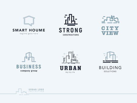 Vector flat construction company brand design templates collection. 向量圖像