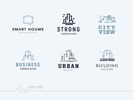 Vector flat construction company brand design templates collection. Stock Illustratie