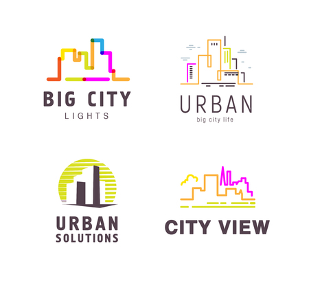 Vector colorful flat construction company brand design templates collection. Building, business company and architect bureau insignia, logo illustration isolated on white background. Line art.