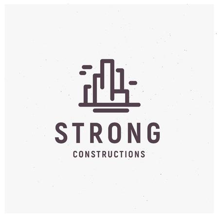 Vector flat construction company brand design template Illustration