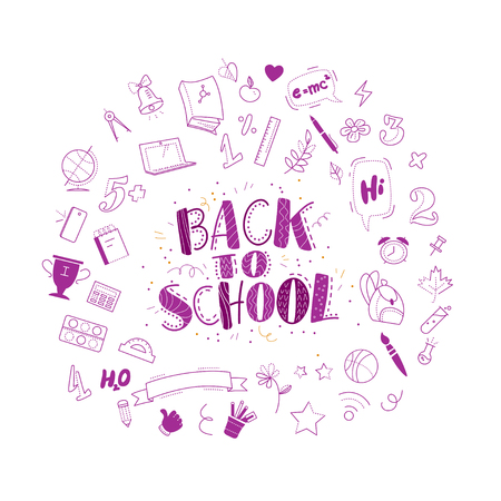 Vector back to school doodle icons set illustration. Free hand drawn education element collection isolated on white background. Different school objects scattered. Lettering greeting. Line art.