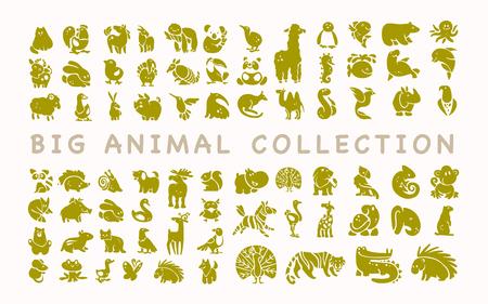 白い背景に隔離されたフラットかわいい動物のアイコンのベクトルコレクション。エキゾチック、珍しい、熱帯、北、アフリカ、森