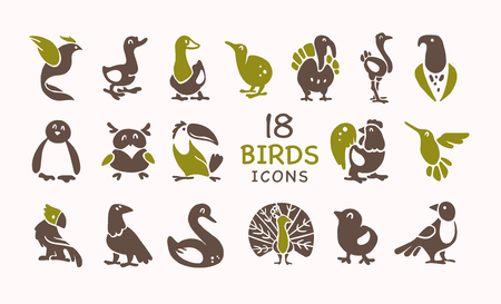 Vector collection of flat cute bird icons isolated on white background. Exotic bird silhouettes, domestic