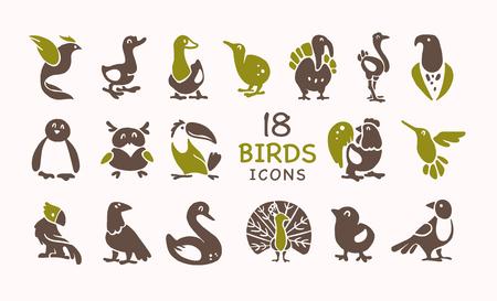 Vector collectie van plat schattige vogel pictogrammen geïsoleerd op een witte achtergrond. Exotische vogelsilhouetten, binnenlands