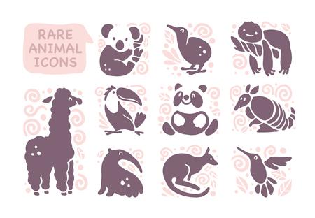 白い背景に隔離されたフラットかわいい動物のアイコンのベクトルコレクション。希少な動物や鳥のシンボル。手描きのエキゾチックな熱帯動物のエンブレム。ロゴデザイン、インフォグラフィック、プリントなどに最適です。 写真素材 - 94310835