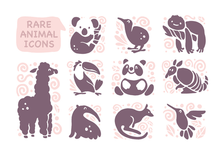 Vector collection of flat cute animal icons isolated on white background. Rare animals and birds symbols. Hand drawn exotic tropic animal emblems. Perfect for logo design, infographic, prints etc. Stock Illustratie