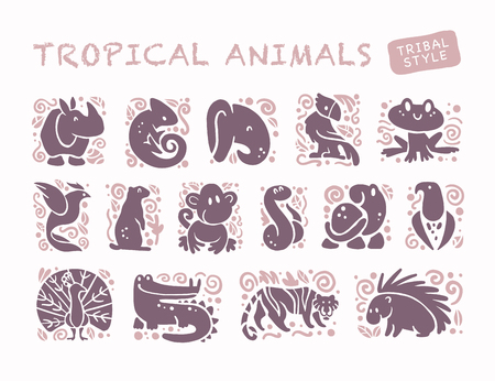 Vector collectie van plat schattige dieren pictogrammen geïsoleerd op een witte achtergrond. Tropische dieren en vogels tribale symbolen. Hand getrokken emblemen. Perfect voor logo-ontwerp, infographic, prints etc.