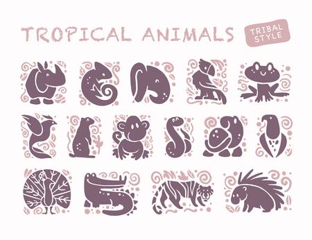 Vector la raccolta delle icone animali svegli piane isolate su fondo bianco. Simboli tribali di uccelli e animali tropicali. Emblemi disegnati a mano Perfetto per logo design, infografica, stampe ecc.