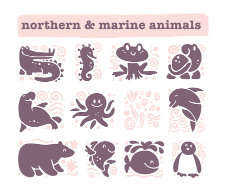 Vector collection of flat cute animal icons isolated on white background. Northern and marine animals and birds symbols. Hand drawn emblems. Perfect for logo design, infographic, prints etc. Vectores