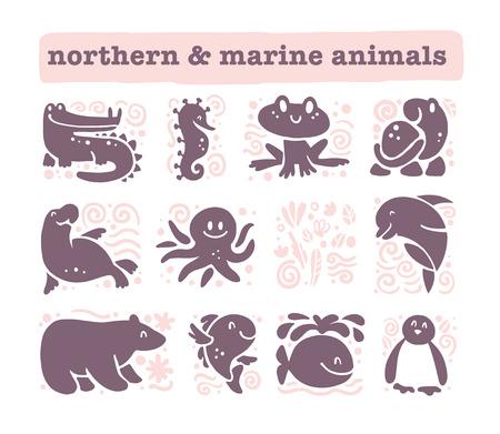 Vector collectie van plat schattige dieren pictogrammen geïsoleerd op een witte achtergrond. Noordelijke en zeedieren en vogels symbolen. Hand getrokken emblemen. Perfect voor logo-ontwerp, infographic, prints etc.