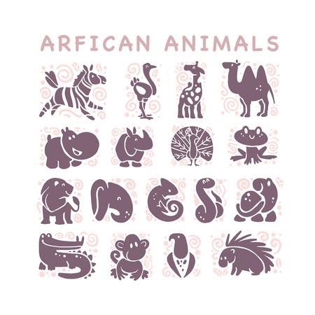 흰색 배경에 고립 된 플랫 아프리카 귀여운 동물 아이콘의 벡터 컬렉션입니다. 부족의 동물과 조류 기호. 손으로 그린 엠 블 럼. 로고 디자인, 인포 그