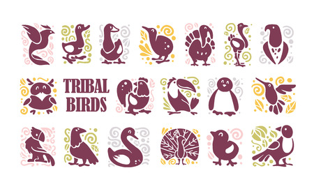 collection of flat cute tribal bird icons