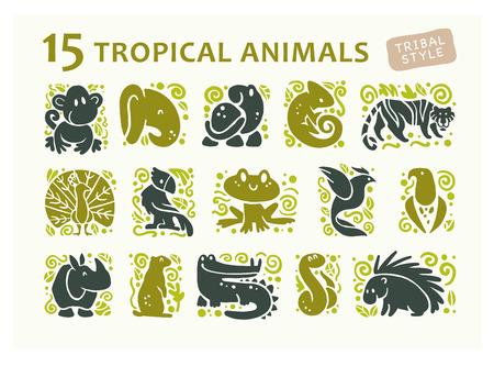 흰색 배경에 고립 된 평면 귀여운 동물 아이콘의 컬렉션입니다. 열 대 동물 및 조류 부족의 기호입니다. 손으로 그린 엠 블 럼. 디자인, 정보 그래픽, 인