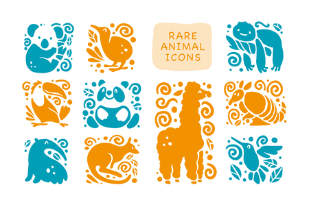 collection of flat cute animal icons isolated on white background. Rare animals and birds symbols. Hand drawn exotic tropic animal emblems. Perfect for design, info graphic, prints etc.