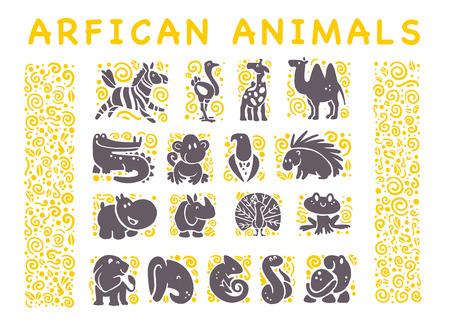 흰색 배경에 고립 된 평면 아프리카 귀여운 동물 아이콘의 컬렉션입니다. 부족의 동물과 조류 기호. 손으로 그린 엠 블 럼. 디자인, 정보 그래픽, 인쇄