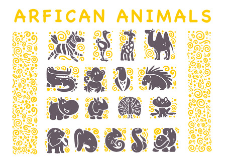 collection of flat African cute animal icons isolated on white background. Tribal style animals and birds symbols. Hand drawn emblems. Perfect for design, info graphic, prints etc.