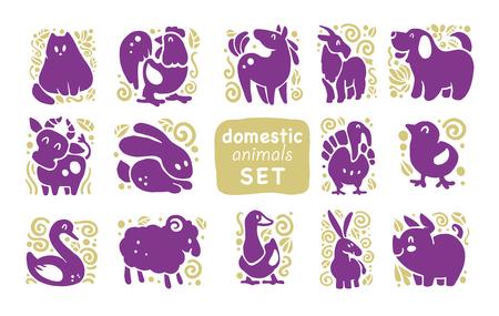 Coleção de ícones animais bonitos domésticos planas, isolado no fundo branco. Símbolos de animais e pássaros de fazenda. Mão desenhada emblemas de animais em casa. Perfeito para design, informação gráfica, impressões etc. Foto de archivo - 94385339
