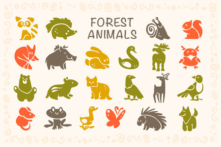 Vector collection of flat cute animal icons isolated on white background. Forest animals and birds symbols. Hand drawn emblems. Perfect for design, info graphic, prints etc.