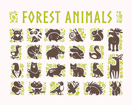 Vector collection of flat cute animal icons isolated on white background. Forest animals and birds symbols. Hand drawn emblems. Perfect for logo design, infographic, prints etc. Foto de archivo - 94403299