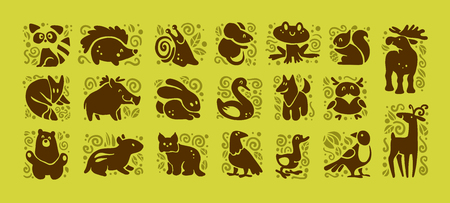 collection of flat cute animal icons isolated on white background. Forest animals and birds symbols. Vettoriali