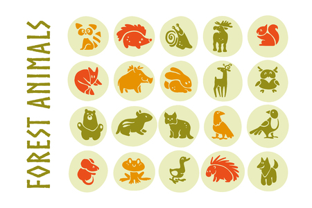 Vector collection of flat cute animal icons isolated on white background. Forest animals and birds symbols. Hand drawn emblems. Perfect for logo design, infographic, prints etc. Foto de archivo - 94403300