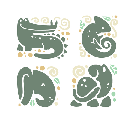 Vector flat cute funny hand drawn animal silhouette isolated on white background - crocodile, chameleon, elephant and turtle. Perfect for children goods store logo insignia, kid clothes and accessory. Иллюстрация